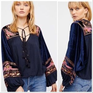 NWOT Free People Hearts Aflame top navy pink S
